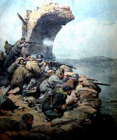 """La Domenica del Corriere Anno XXXX n.2 9 Gennaio 1938 - XVI - (prima pagina) """"Il luminoso eroismo dei difensori di Teruel. Sull'altura di Castralbo, presso la città assediata, pochi uomini comandati da un sergente, armati di una sola mitragliatrice, resistono fino all'ultimo sangue agli assalti di migliaia di rossi"""""""