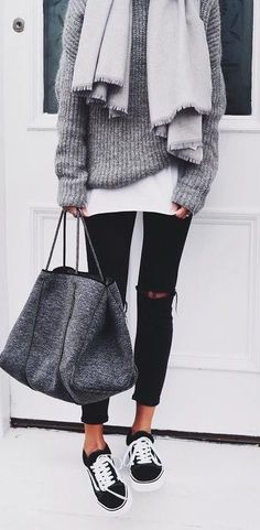 Women's casual weekend outfit. Ripped skinny black jeans or leggings, old school vans sneakers, gray sweater, grey scarf, large tote bag. #ad #womenstyle #ootd #casualstyle