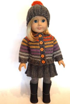 This dolly ensemble came out of necessity. I simply had to find a use for the leftover bits from the Martin Storey Afghan KAL and the Kaffe Fassett KAL. Both afghans used the new Rowan Pure Wool Wors