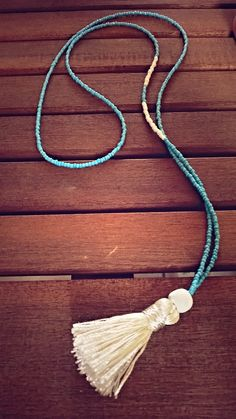 Beaded Necklace with Tassel in white and blue. Really pretty and fresh for all summer outfits! by Bohemicin on Etsy