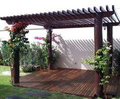 20 ไอเดีย ศาลาซุ้มไม้ระแนง สำหรับตกแต่งกลางแจ้ง เพิ่มเสน่ห์ให้บ้านคุณ | iHome108 Pergola Canopy, Backyard Patio Designs, Wooden Pergola, Backyard Pergola, Pergola Shade, Pergola Designs, Pergola Plans, Backyard Landscaping, Backyard Ideas