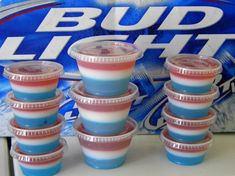 4th of July Shots: Cherry Jello (with vodka), Blue Raspberry Jello (with vodka), and Cool Whip YUM!!