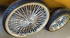 Bagger Motorcycle, Motorcycle Wheels, Bike Wheels, Rims And Tires, Wheels And Tires, Rims For Sale, Gold Wheels, Lowrider Bike, Biker Gear