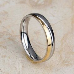 316L-Stainless-Steel-18K-Gold-Plated-Women-Band-Party-Wedding-Ring-4MM-Size-6-10