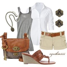 LOVE the grey and brown fossil bag, grey tank, white button down shirt, khaki short, leather belt and sandals...LUV grey with brown leather!