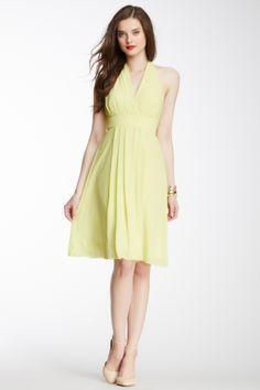 Crossover V-Neck Halter Dress