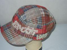 Epcot Center plaid painter's hat cap OSFA sewn letters  #Disney