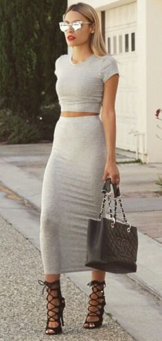Gray bodycon skirt and basic tee that doesn't leave much to the imagination. Paired with a black Chanel bag and black strappy sandals.     // Pinned on @benitathediva, DIY fashion inspiration & LifeSTYLE Blog