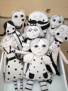 Balck ad white dollz by FabLAB Atelier make your own cool modern and contemporary monochrome fabric painted or screen printed plushie people have them like the kids drawings of themselves too