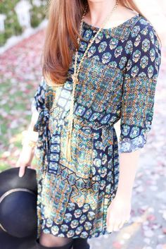 Styling a Pretty Patterned Dress from the November Magnolia Post Co Collection, The Perfect Pattern for Fall! Fall Patterns, Dress Patterns, Fall Lookbook, Patterned Dress, Magnolia, November, Blouse, Casual, Pretty