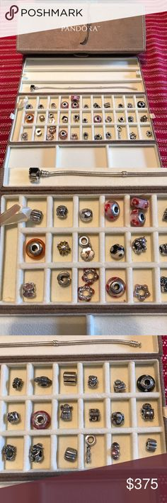 """Entire Pandora Collection Authentic Pandora collection. 35 charms. 8.3"""" (21cm) bracelet. Suede jewelry box. I can send details, info on charms as needed. Some are retired. Pandora Jewelry Bracelets"""