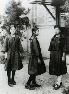 Female students in sailor suit uniforms, 1920s
