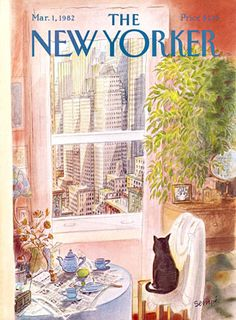 Mar 1, 1982 The New Yorker.  Cat on chair looking out window.