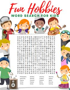If your kids are looking for some new activities to enjoy have them explore some fun new ideas with this free hobbies word search & word scramble. Free Kids Coloring Pages, Coloring Pages For Kids, Activities For Kids, Crafts For Kids, Pipe Cleaner Crafts, Diy Gift Box, Project Free, Craft Free, Fun Hobbies