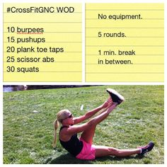 CrossFit Travel WOD. burpees. push-ups. plank taps. scissors. squats. 5 rounds, 1 min break. via @blondeponytail