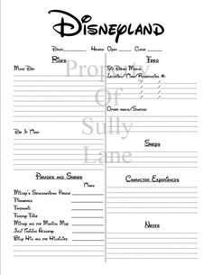 Disneyland Trip Planner Organizer Printable!  Awesome for helping make a schedule for your Disneyland trip!