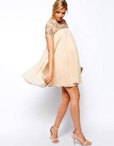 ASOS Maternity | ASOS Maternity Exclusive Swing Dress With Baroque Embellishment at ASOS