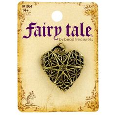 Antique Brass Filigree Heart Locket