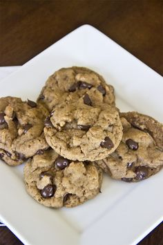 """Deliciously Healthy Chocolate Chip Cookies -- AMAZING. The most addicting healthy cookies ever made! Stop what you are doing RIGHT NOW and make this recipe. Definitely make them double recipe. I made them with ghirardelli baking chips, they are my preferred baking chips! I think it would also be OK to sub spelt flour for all-purpose; but spelt is great """"healthy"""" flour."""