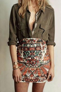 #spring #outfits  Green Shirt + Aztec Print Skirt