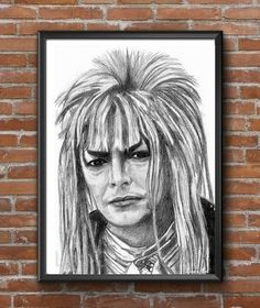 David Bowie  Labyrinth Print, Bowie Art, famous people, celebrity art, movie art