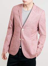 Burgundy Neppy Oxford Skinny fit Blazer - Topman