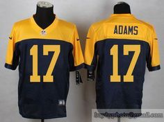 NFL Green Bay Packers #17 Davante Adams Navy Blue Yellow Jersey