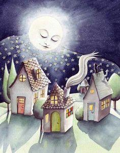 Luna Duermiendo En En Pueblo