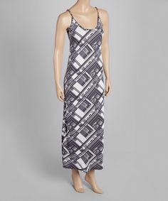 Look at this Gray & White Geometric Maxi Dress on #zulily today!