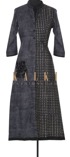 Buy this Black printed kurti with resham embroidered pocket only on Kalki