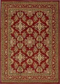 Burgundy 7' x 10' Isfahan Design Rug | Area Rugs | iRugs UK