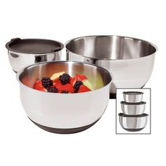Stainless Steel Bowl Set of 3  by Oggi
