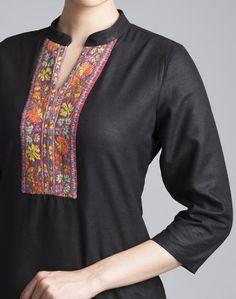 Buy Fabindia Silk Matka Kashmiri Embroidery Long Kurta Online- Fabindia.com