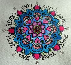 beautiful flower mandala by honeyandollie (there is a pic pinned that is this image w/out color...check it out!)