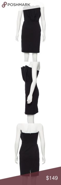Maje strapless dress size XS, worn once Black Maje strapless mini dress with pleated accent at bodice and concealed zip featuring hook-and-eye closure at back. Worn once, no signs of wear. US size 0-2, FR 36 Maje Dresses Strapless