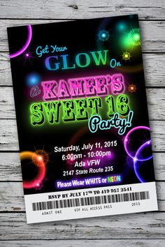 Glow Party Invitation Ideas Lovely Sweet 16 Glow In the Dark theme Neon Disco Birthday Party Disco Birthday Party, Neon Birthday, 13th Birthday Parties, Sweet 16 Birthday, 16th Birthday, Birthday Party Invitations, Birthday Party Themes, Birthday Ideas, Quinceanera Invitations