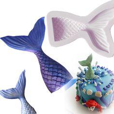 Fairy Little Mermaid Tail Scale Silicone Fondant Mould Cake Decor Sugarcraft S/L