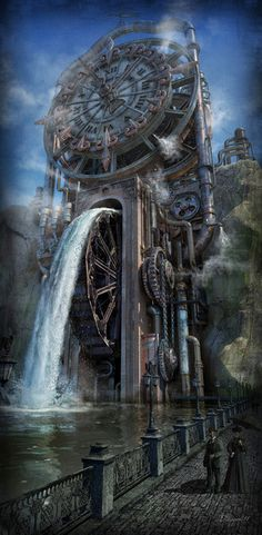 The Time Machine by Dmitriy Filippov Steampunk fantasy water mill Fantasy Places, Fantasy Landscape, Sci Fi Fantasy, Fantasy World, Steampunk Kunst, Style Steampunk, Steampunk Fashion, Steampunk Clock, Steampunk Theme