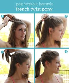 Bohemian Twist with Rope Twist Hairstyle Post Workout Hair Styles: French Twist Pony easy updo A twisting braid Post Workout Hair, French Twist Hair, French Twists, Workout Hairstyles, Pretty Hairstyles, Hairstyles 2016, Sporty Hairstyles, Fashion Hairstyles, Modern Hairstyles