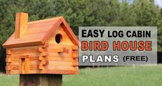 Bird House Plans 254523816429768948 - Free bird house plans to make a rustic homemade log cabin style home for your Source by mtillema Wooden Bird Feeders, Wooden Bird Houses, Bird Houses Diy, Wooden Cabins, Bird House Plans Free, Bird House Kits, Owl House, Cabin Style Homes, Homemade Bird Houses