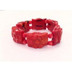 Bracciale in pietra dura elastico rosso in corallo di bambù