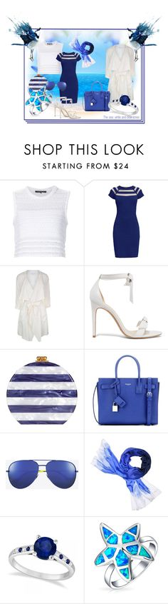 """The sea: white and blue tones"" by silvijo ❤ liked on Polyvore featuring Thakoon, Rumour London, Patrizia Pepe, Alexandre Birman, Edie Parker, Yves Saint Laurent, Kate Spade, Allurez and Bling Jewelry"