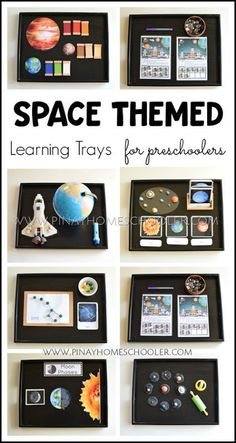 Montessori Inspired Space Themed Learning Activities - Space themed activities for preschoolers Intro Science Montessori, Montessori Trays, Montessori Homeschool, Montessori Classroom, Montessori Toddler, Montessori Materials, Montessori Bedroom, Montessori Elementary, Planets Activities