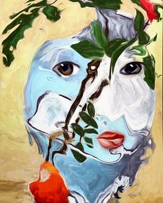 Painted Face 2 #face #woman #mobileart #blendedimages #digitalart #ipadart #icolorama