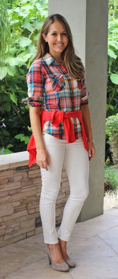 Red plaid top, red sweater and ivory jeans- add brown boots for fall/winter
