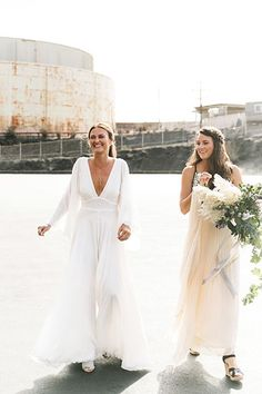 How This Couple Avoided EVERY Wedding Trend Out There #refinery29  http://www.refinery29.com/industrial-san-francisco-wedding#slide-5  How elegant is that dress? And let's talk about that bouquet by Studio Choo. ...
