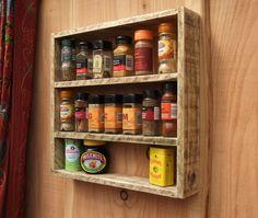 Rustic Spice Rack / Kitchen Shelf  Made From por NewPurposeDesign