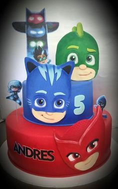 Pin by ronda lawmaster on leland pj masks birthday in 20 Pj Masks Birthday Cake, Lego Birthday, Third Birthday, 4th Birthday Parties, Festa Pj Masks, Baby Coloring Pages, Ballerina Cakes, Superhero Cake, Happy Party