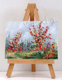 Orange Flowers 3x4 original oil painting miniature