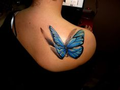 Shoulder 3D Blue Butterfly Tattoos for Women - I was looking for tattoos ideas, similart to the one, Toya, the main character in my book, would wear.  Toya swore she would never get a tattoo but if she ever did, she would get one that symbolized her journey:  she viewed herself a s a caterpiller shrouded in the cocoon of her past, that has now emerged from her shell as a beautiful butterfly